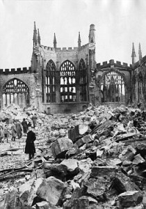 Coventry Cathedral in November 1940 after the devastating raid on the fourteenth. 11/40