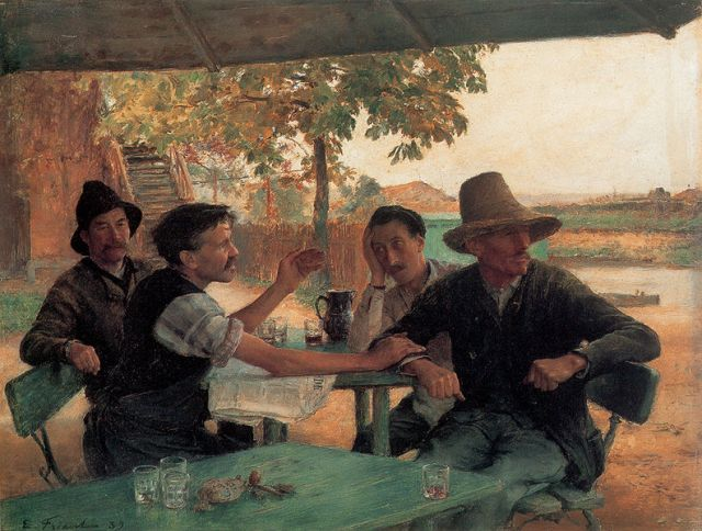 La Discussion politique, by Emile Friant