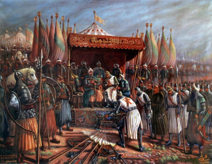 Featured Image is Saladin and Guy of Lusignan after Hattin by Said Tahsine